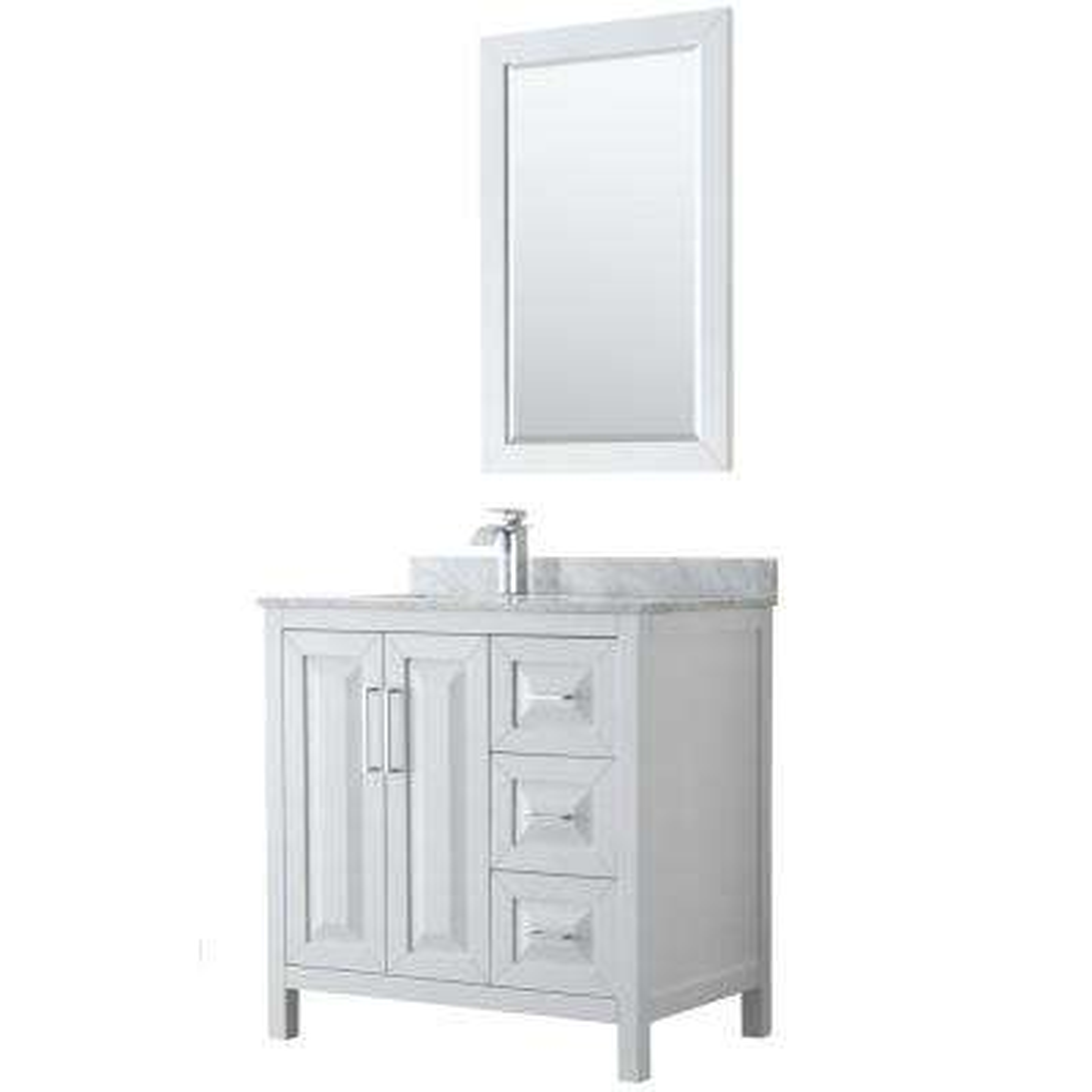 Daria 36 in. Single Bathroom Vanity in White with Marble Vanity Top in Carrara White and 24 in. Mirror