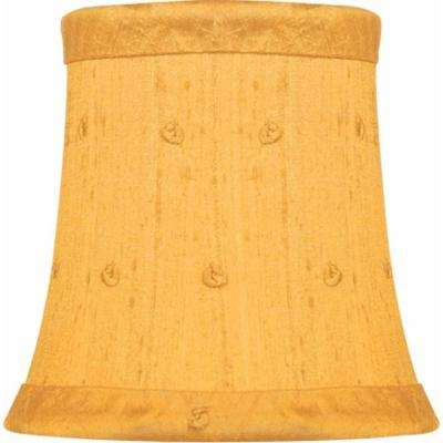 Stretch Bell Butterscotch Dupione Silk Chandelier Shade with Embroidered French Knots