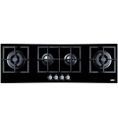 43 in. Gas-on-Glass Gas Cooktop in Black with 4 Burners