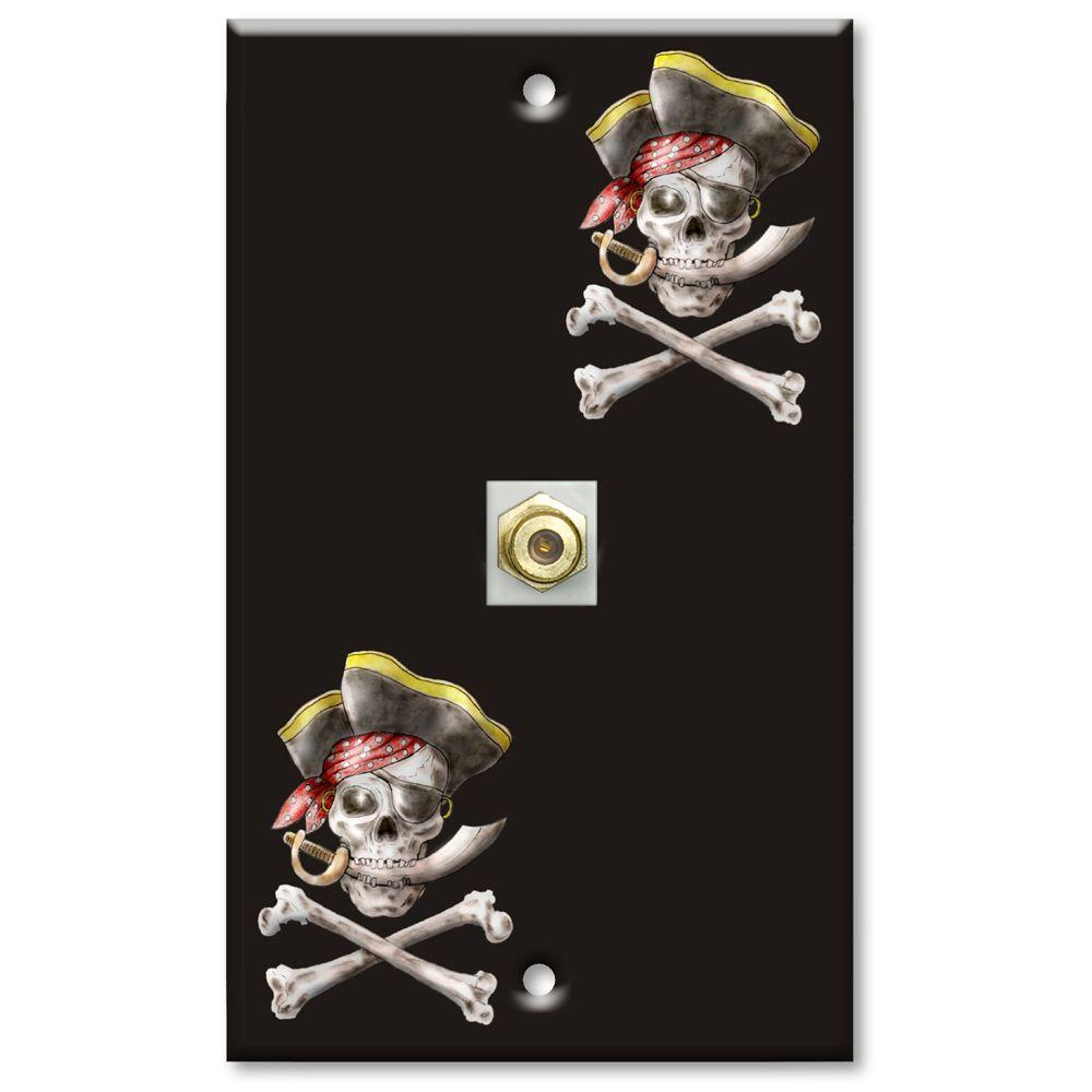 Art Plates Pirate Cable Wall Plate Black