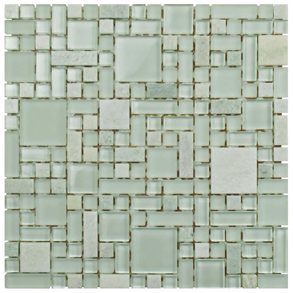 Merola Tile Tessera Versailles Ming 11-3/4 in. x 11-3/4 in. x 8 mm Glass and Stone Mosaic Tile