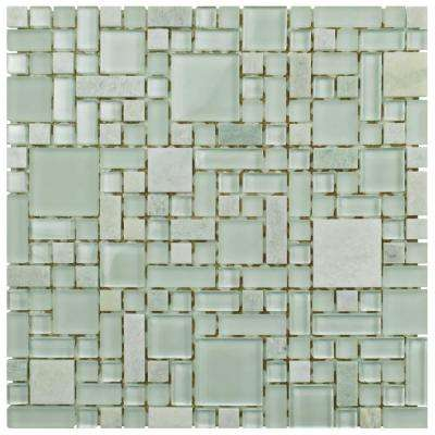 Tessera Versailles Ming 11-3/4 in. x 11-3/4 in. x 8 mm Glass and Stone Mosaic Tile