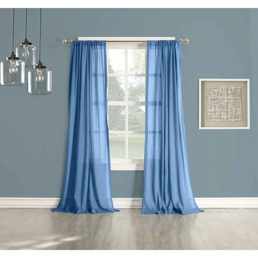 LICHTENBERG Sheer No. 918 Millennial Henderson Lapis Cotton Gauze Curtain Panel