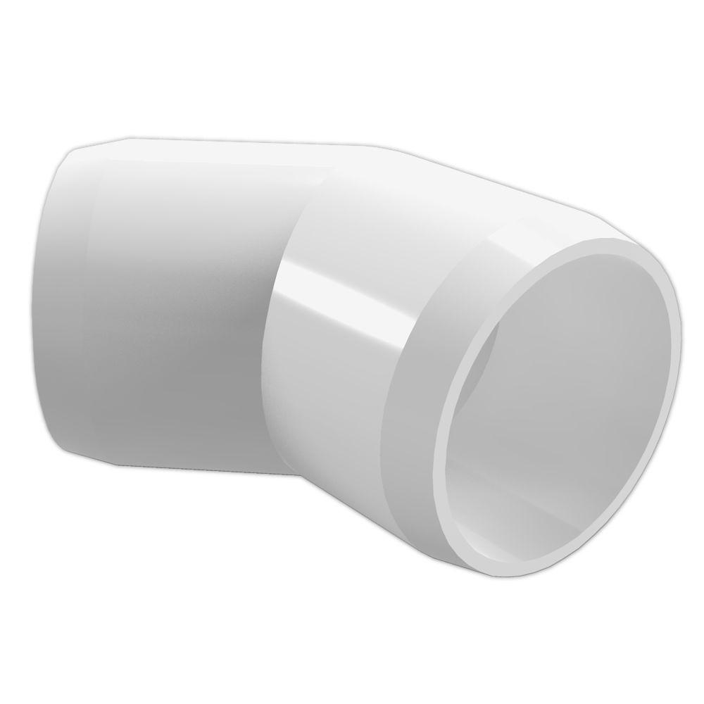 FORMUFIT 2 in. Furniture Grade PVC 45-Degree Elbow in Whi...