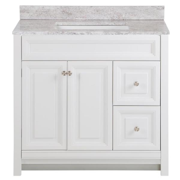 Brinkhill 37 in. W x 22 in. D Bathroom Vanity in White with Stone Effect Vanity Top in Winter Mist with White Sink