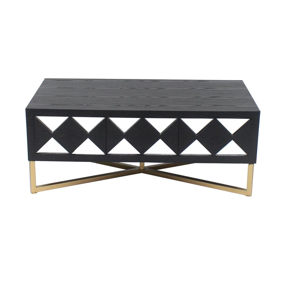 Black/Gold Wood Mirror Console Table with 3-Drawers