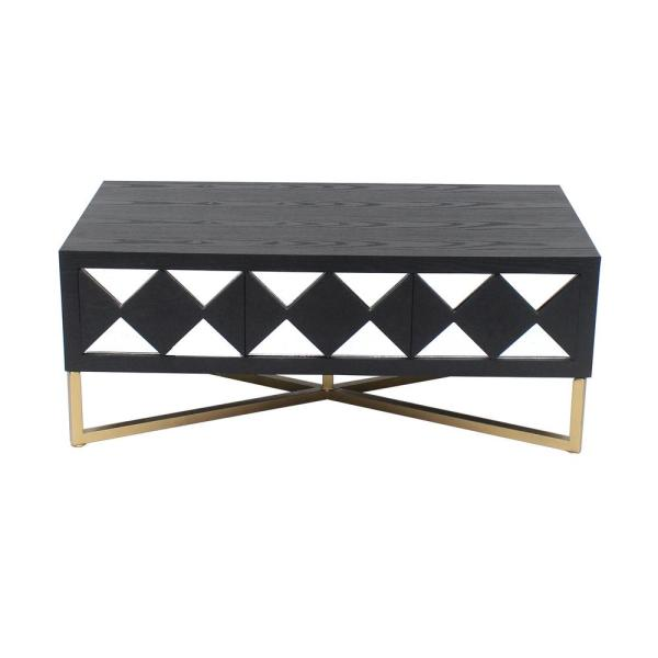 undefined Black/Gold Wood Mirror Console Table with 3-Drawers
