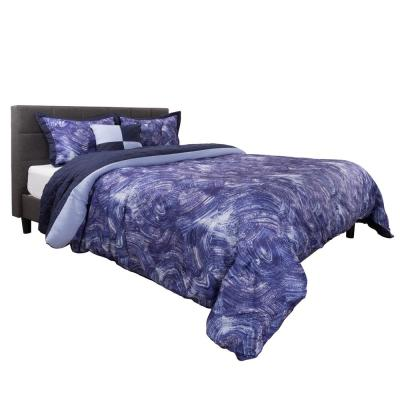 5-Piece Blue/Violet Whimsical Swirl Design Queen Comforter Set