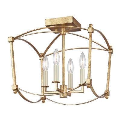 Thayer 14.375 in. W. 4-Light Antique Gild Semi-Flush Mount