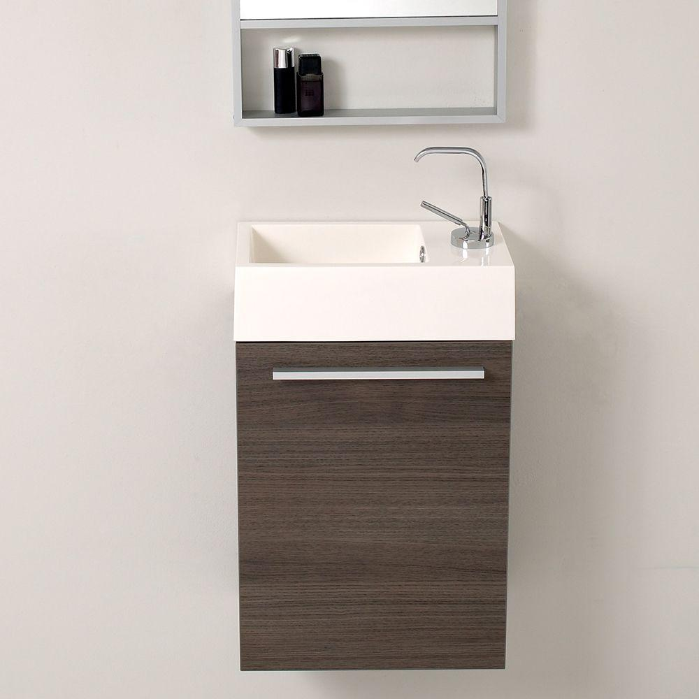 new products 60327 47400 Fresca Pulito 16 in. Vanity in Gray Oak with Acrylic Vanity Top in White  with White Basin and Mirror