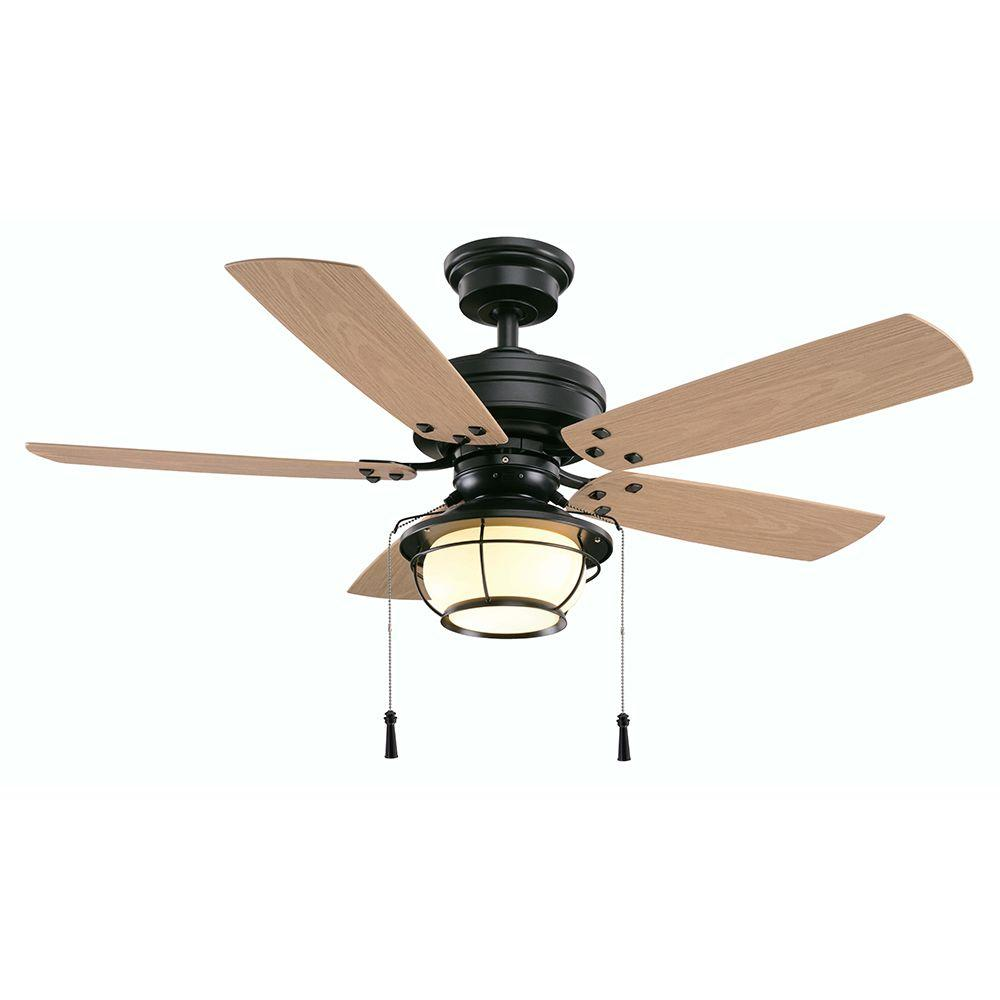 Hampton bay north shoreline 46 in indoor outdoor natural iron ceiling fan with light kit 51546 - Outdoor ceiling fan ...