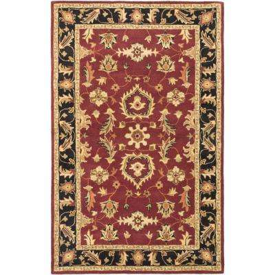 Timeless Black, Dark Red 5 ft. x 8 ft. Area Rug