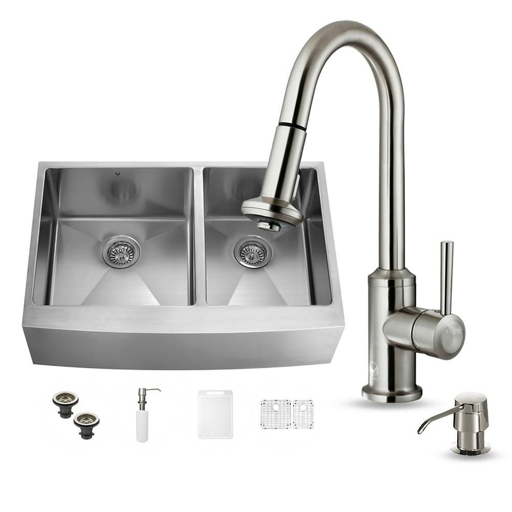 VIGO All-in-One Farmhouse Apron Front Stainless Steel 36 in. 0-Hole Double Basin Kitchen Sink and Faucet Set