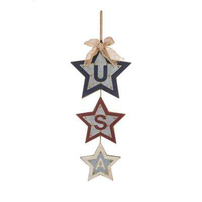 24.8 in. H Galvanized Iron/Wooden Studded Star Dangle Sign