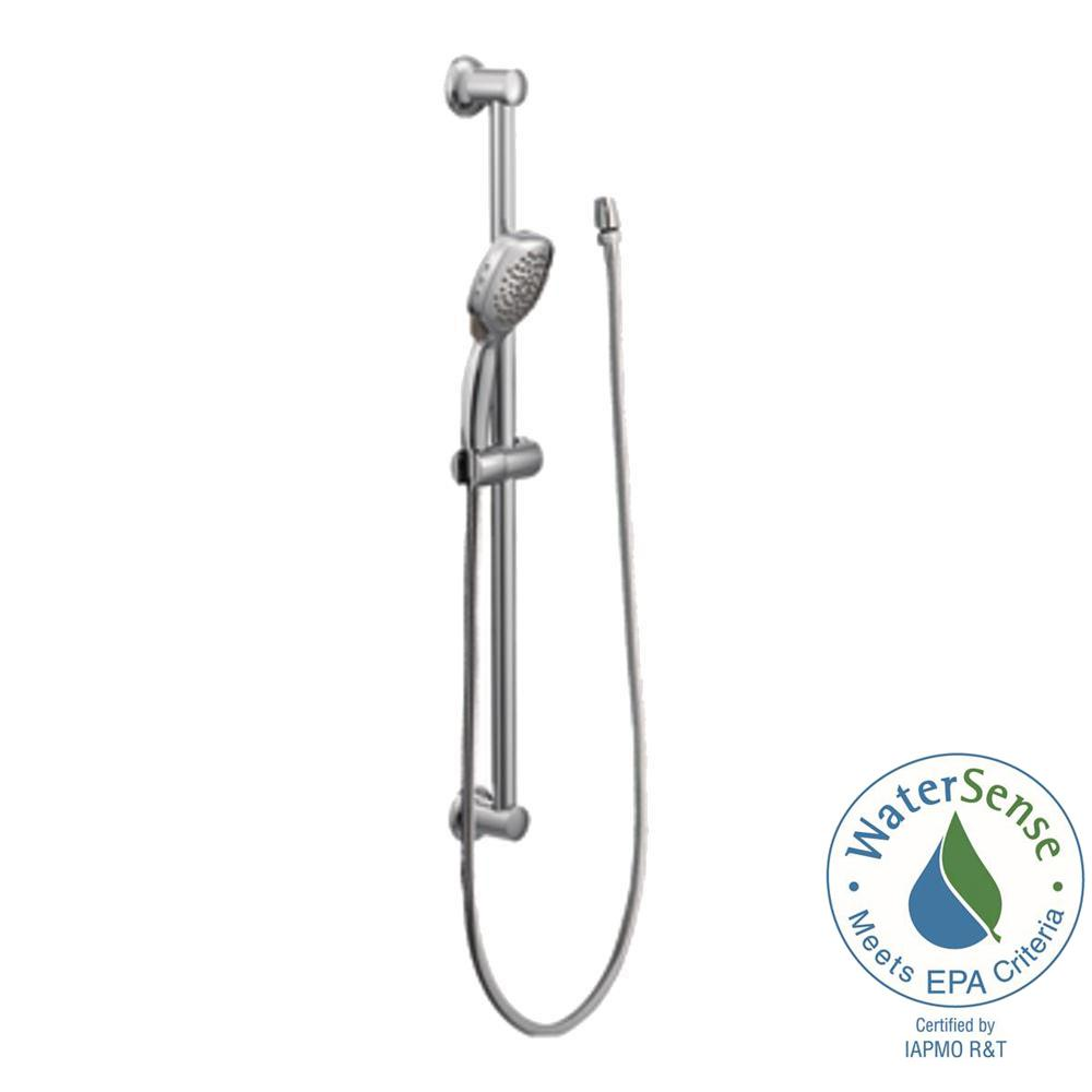 MOEN Twist 4-Spray Handheld Handshower with Slide Bar in Brushed ...
