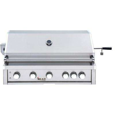 40 in. 5-Burner Liquid Built-In Propane Gas Grill in Stainless Steel with 1 Infrared Burner and Bonus Rotisserie Kit