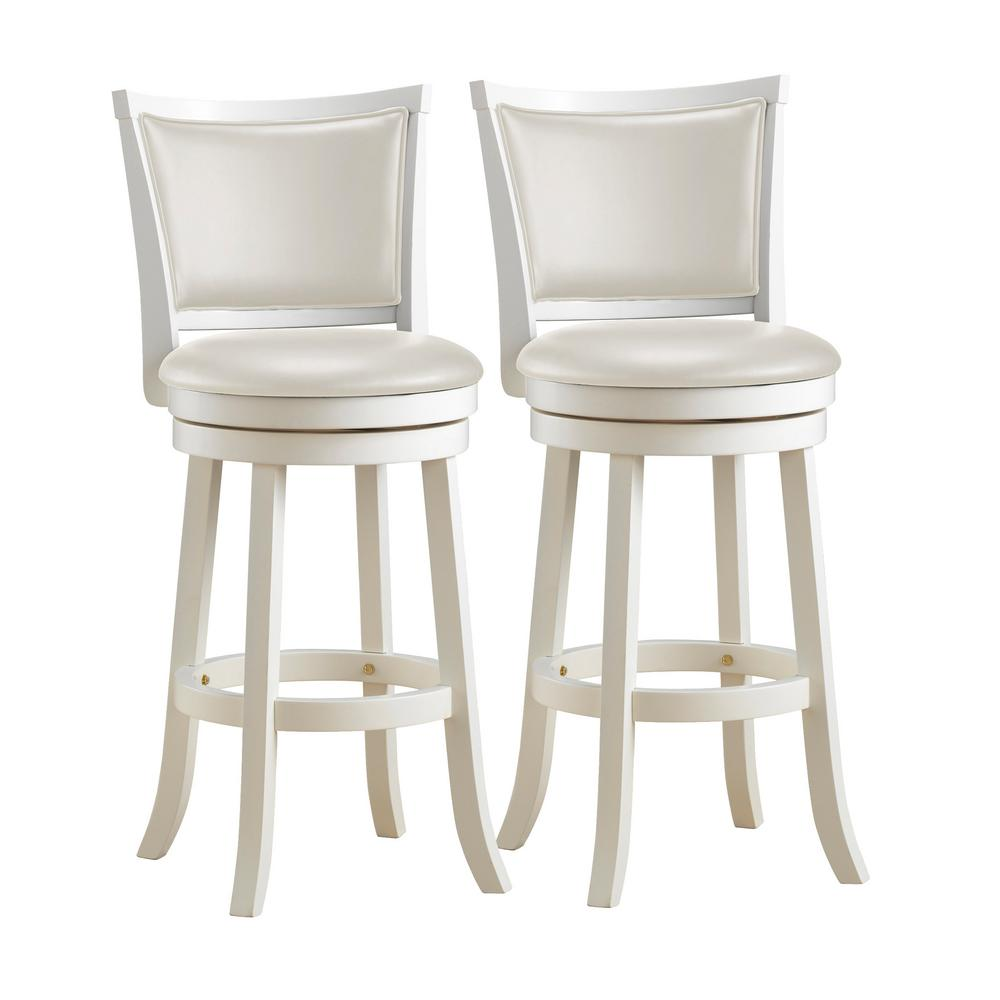 Woodgrove 29 in. White Wood Swivel Bar Stools with White Leatherette Seat and Backrest (Set of 2)