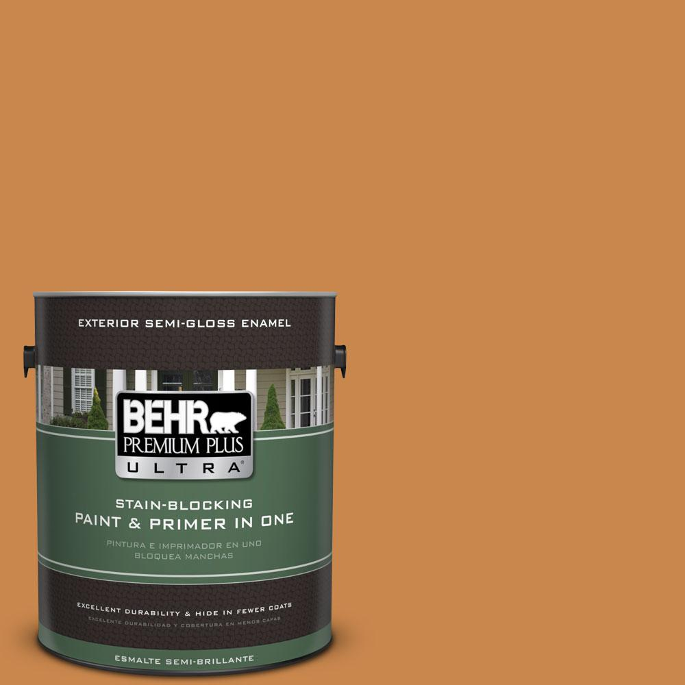 BEHR Premium Plus Ultra 1-gal. #M240-7 Golden Pumpkin Semi-Gloss Enamel Exterior Paint