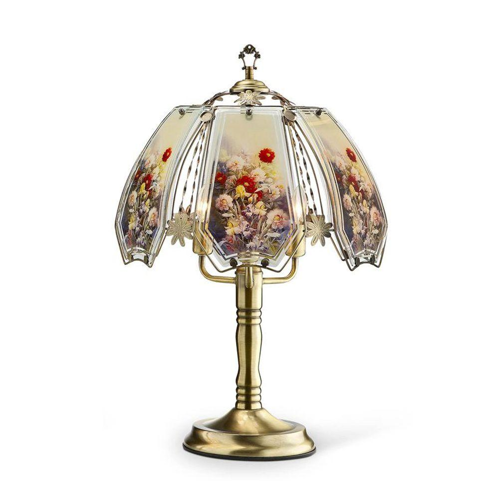 ORE International 23.5 in. Gold Floral Garden Touch Lamp-K ...