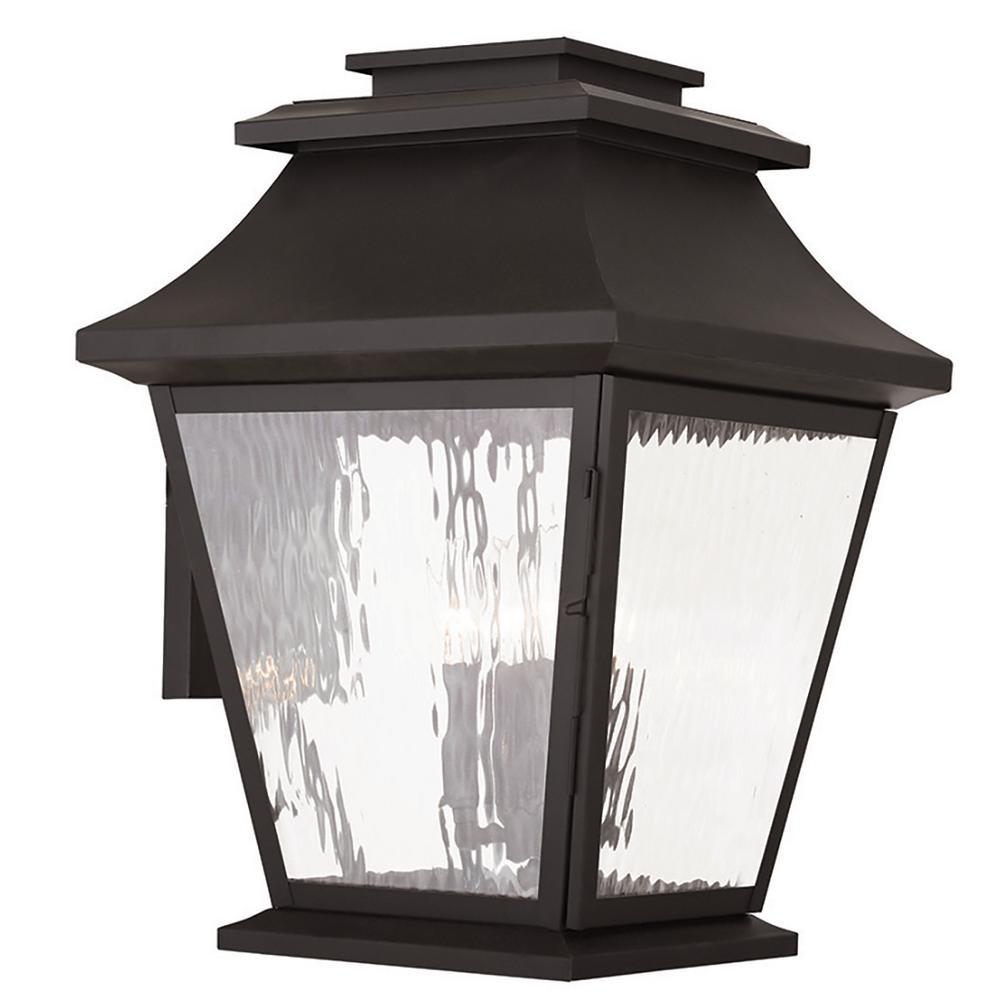 Hathaway 4-Light Bronze Outdoor Wall Mount Lantern