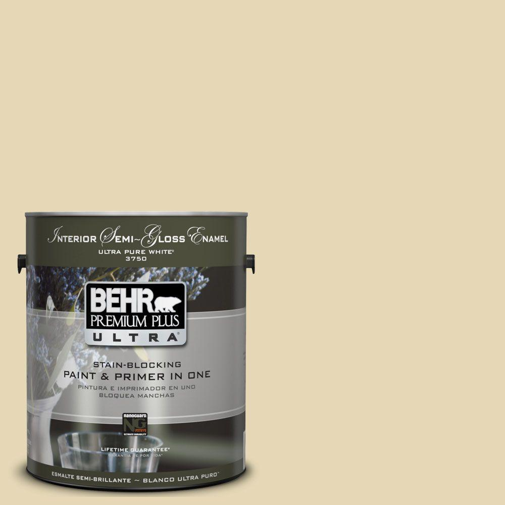 BEHR Premium Plus Ultra 1-gal. #UL180-12 Lemon Balm Interior Semi-Gloss Enamel Paint