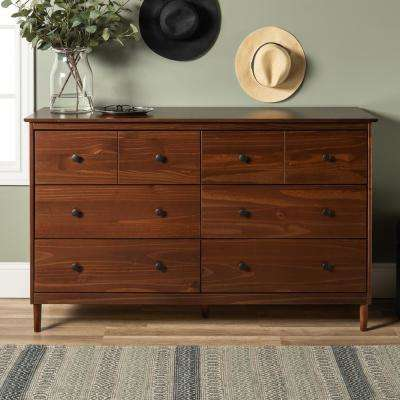 Classic Mid Century Modern 6-Drawer Walnut Solid Wood Dresser