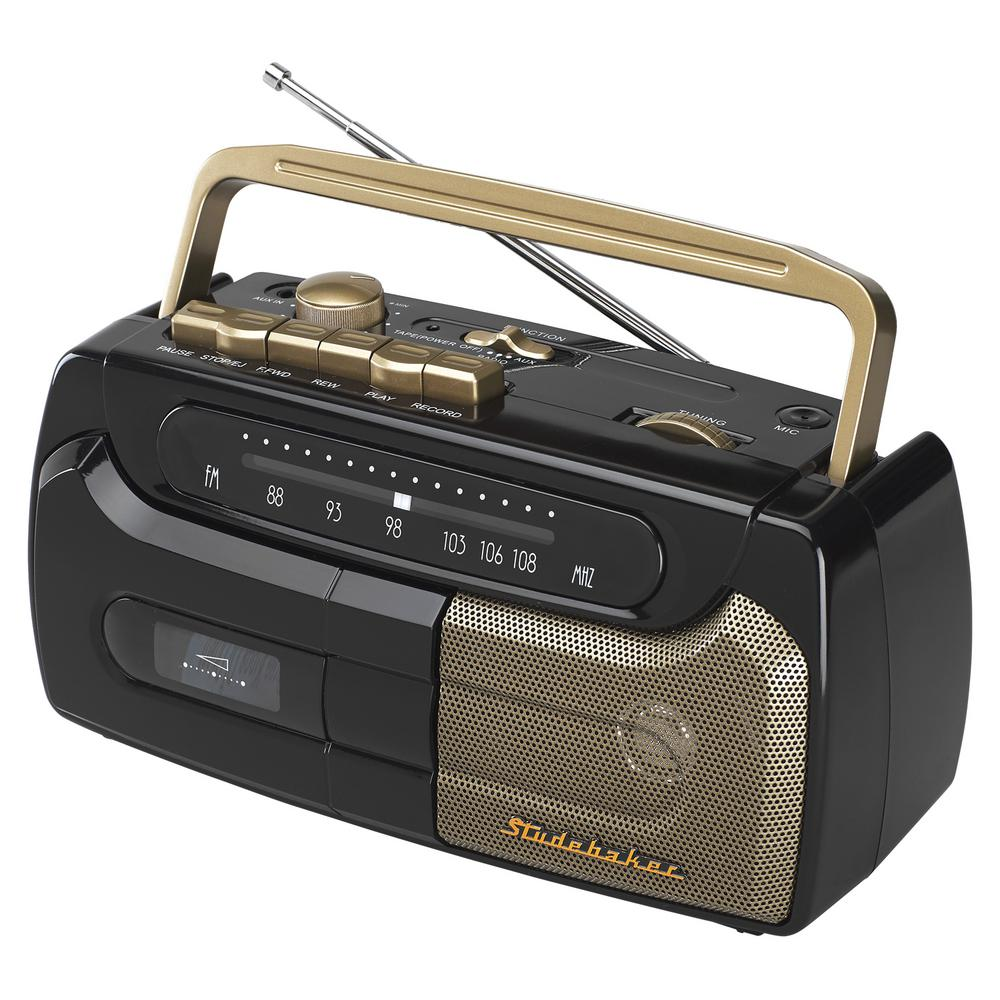 Studebaker Portable Cassette Player/Recorder with FM Radio, Black And Gold