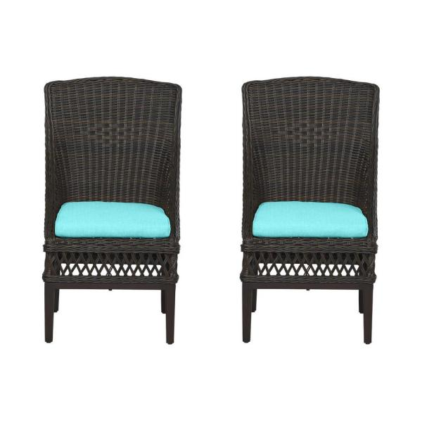 Woodbury Dark Brown Wicker Outdoor Patio Dining Chair with CushionGuard Seaglass Turquoise Cushions (2-Pack)