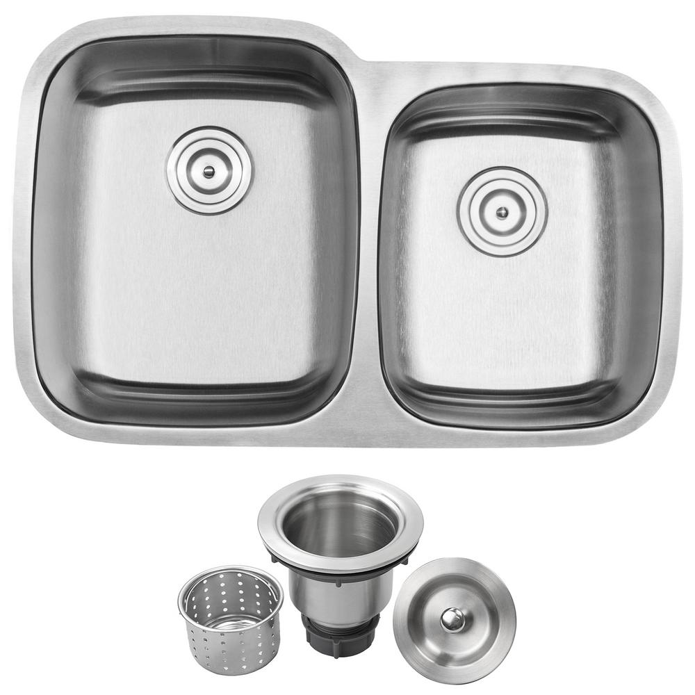 Ticor Haven Undermount 16 Gauge Stainless Steel 32 25 In Double
