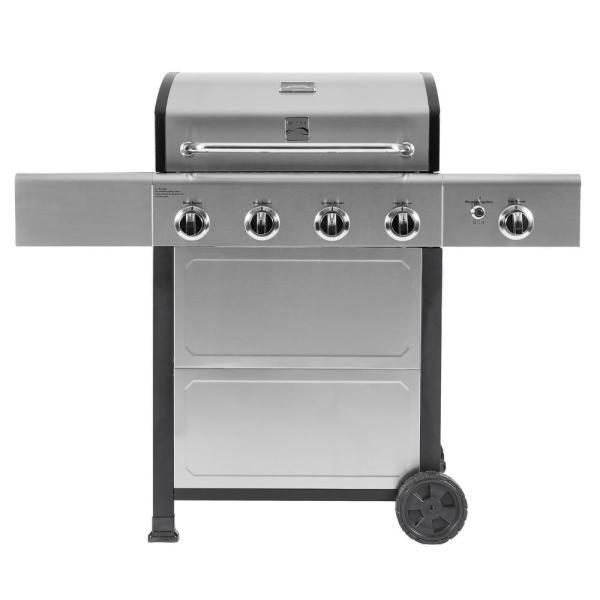 4-Burner plus Side Burner Propane Gas Open Cart Grill with Stainless Steel Lid and Front Panel