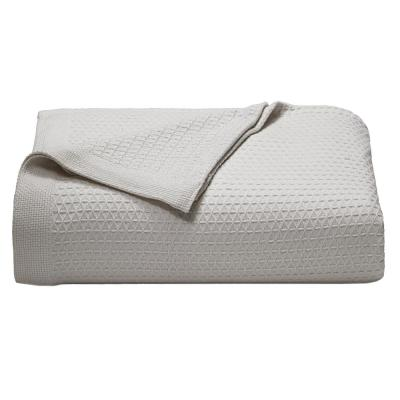 Baird Pastel Gray Solid Cotton Twin Knitted Blanket