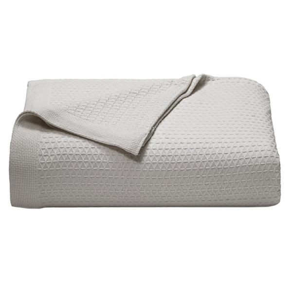 Baird Pastel Gray Solid Cotton King Knitted Blanket