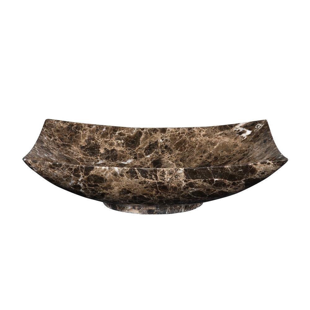 RYVYR Stone Vessel Sink in Dark Emperador, Brown/White/Grey
