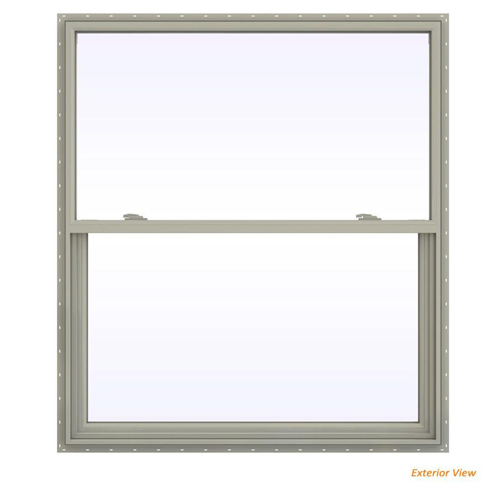 47.5 in. x 47.5 in. V-2500 Series Desert Sand Vinyl Single Hung Window with Fiberglass Mesh Screen