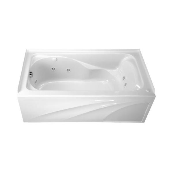 American Standard Cadet 60 In X 32 In Whirlpool Tub With Integral Apron And Left Drain In White 2776218w 020 The Home Depot