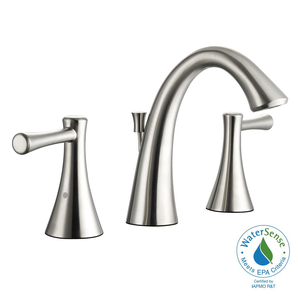 Glacier bay venue 8 in widespread 2 handle high arc for 8 bathroom faucet in brushed nickel