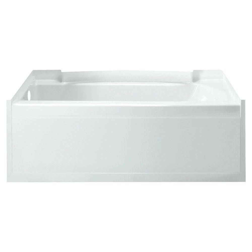 Accord 5 ft. Left Drain Rectangular Alcove Soaking Tub in White