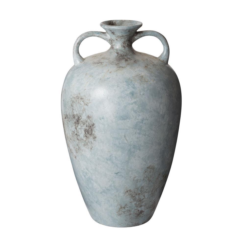 20 in. Mottled Starling Earthenware Decorative Vase in Blue