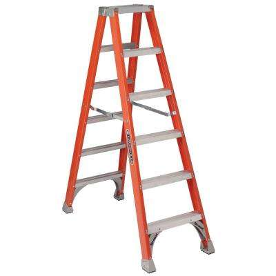 6 ft. Fiberglass Twin Step Ladder with 300 lbs. Load Capacity Type IA Duty Rating