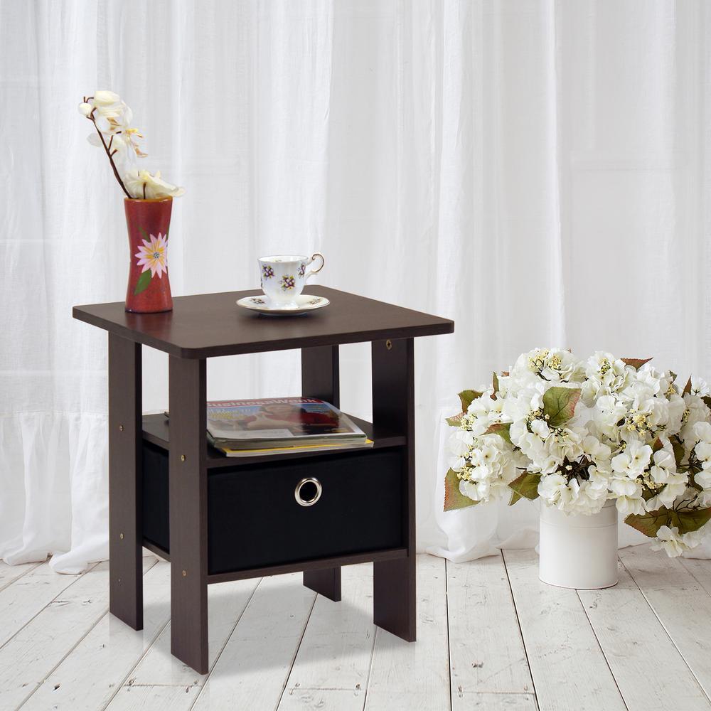 Furinno Dark Brown and Black Storage End Table by Furinno