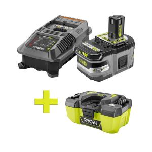 Ryobi 18-Volt ONE+ Lithium-Ion 6.0Ah Starter Kit w/ONE+ 3 Vacuum Deals