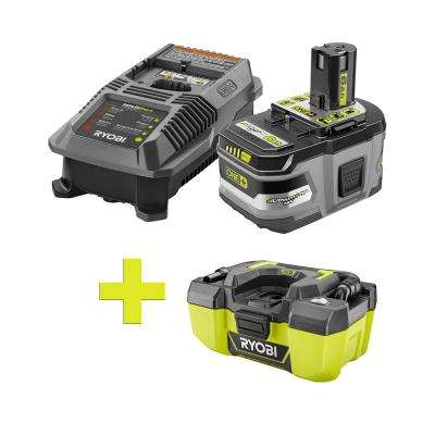 18-Volt ONE+ Lithium-Ion LITHIUM+ HP 6.0Ah Starter Kit w/ Bonus ONE+ 3 Gal Project Wet/Dry Vacuum with Accessory Storage