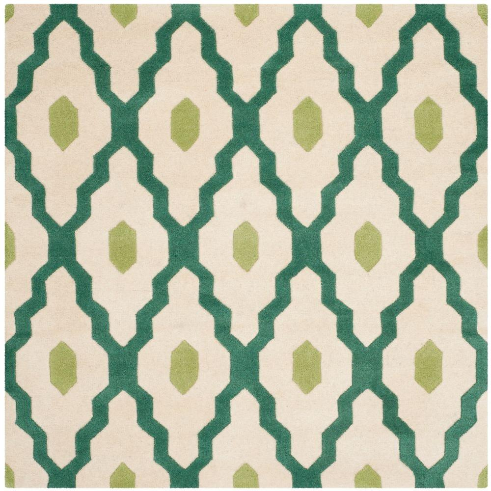 Safavieh Chatham Ivory/Teal 5 Ft. X 5 Ft. Square Area Rug