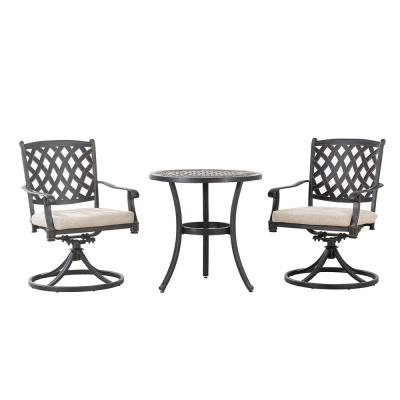 Cahill Black 3-Piece Aluminum Outdoor Bistro Set with Beige Cushion