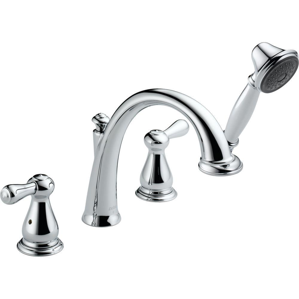 Delta Leland 2-Handle Deck-Mount Roman Tub Faucet Trim Kit with Handshower in Chrome (Valve Not Included)