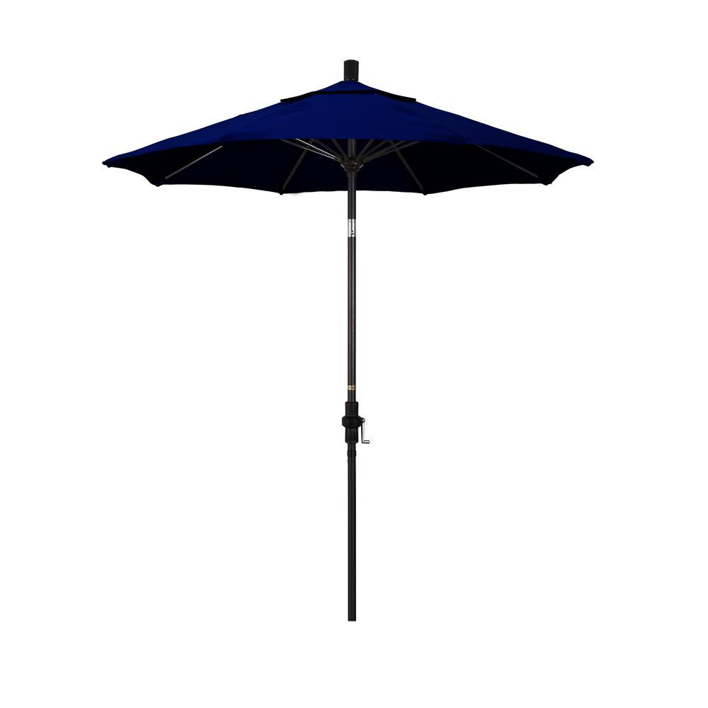 7.5 ft. Bronze Aluminum Market Collar Tilt Crank Lift Patio Umbrella in True Blue Sunbrella