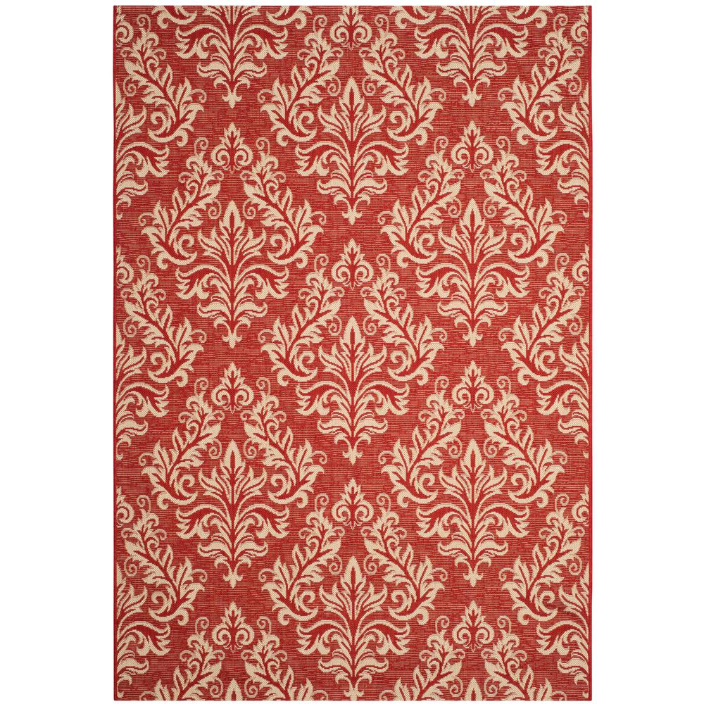 Safavieh Courtyard Red/Cream 5 ft. 3 in. x 7 ft. 7 in. Indoor/Outdoor Area Rug