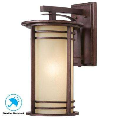 20 in. 1-Light Bronze Outdoor Wall Lantern with Amber Glass