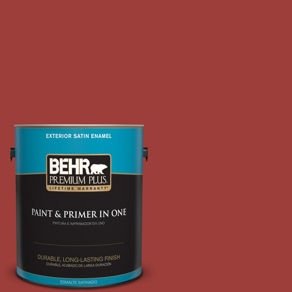 1 gal. #PPU2-16 Fire Cracker Satin Enamel Exterior Paint and Primer