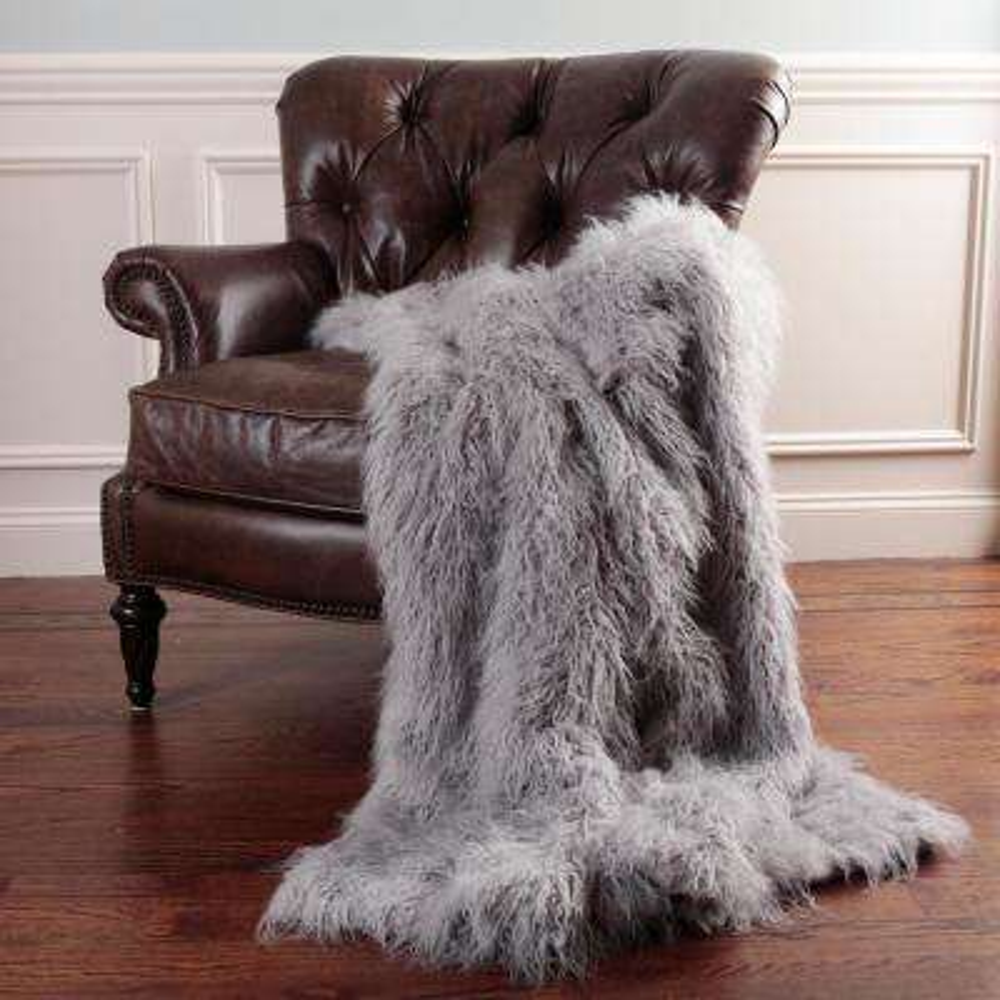 Faux Mongolian Lamb Fur 60 in. L Grey Throw